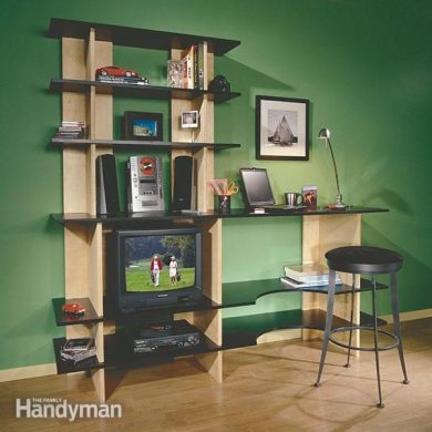 Stackable Shelves   The Family Handyman It s shelving  storage  a desk and work surface combined