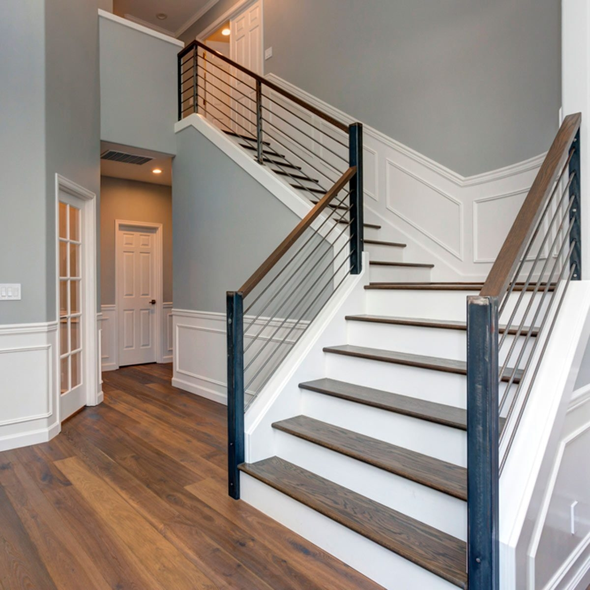 10 Ways To Freshen Up Outdated Banisters Family Handyman | Black Horizontal Stair Railing | Metal | Linear | Interior | Wood | Exterior