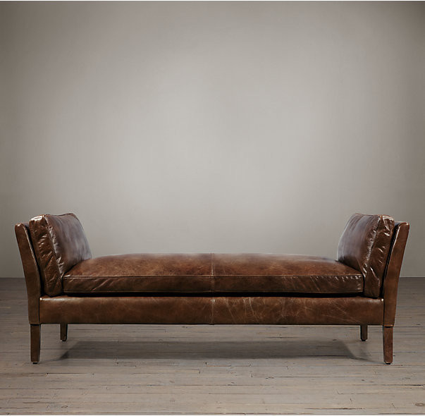 Rectangle Elegant Wooden Leg Large Genuine Leather Ottoman