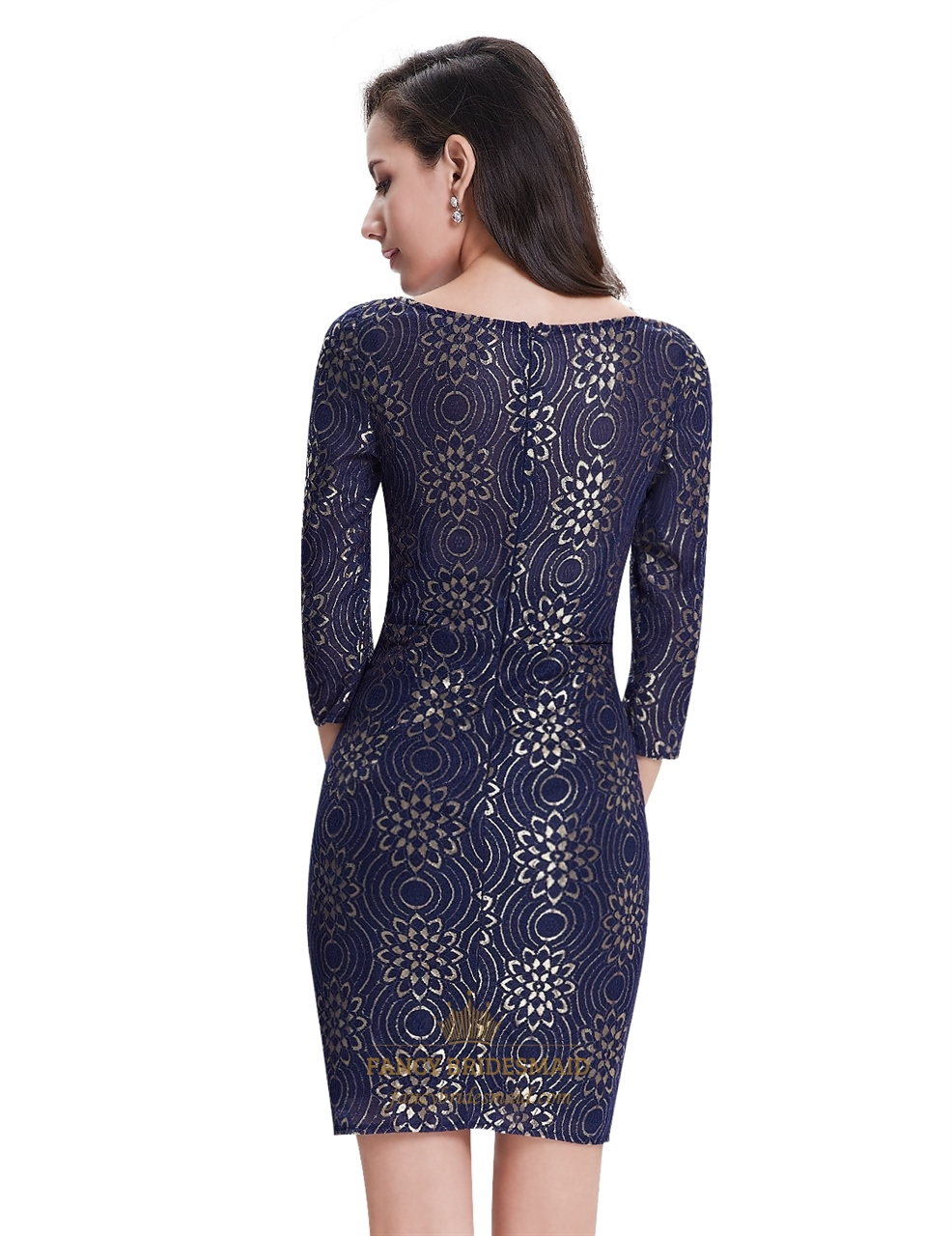 4 Length Dress Navy Lace Vintage 3 Sleeve