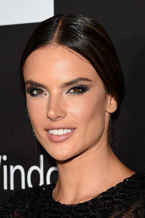 20 Stylish Ways to Wear Center Part Hairstyles: Alessandra Ambrosio
