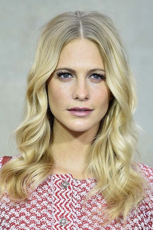 20 Stylish Ways to Wear Center Part Hairstyles: Poppy Delevingne