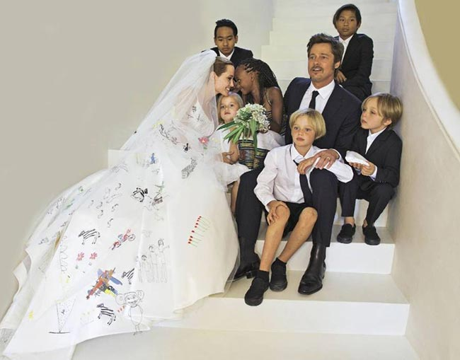 10 of the Most Unique Celebrity Wedding Dresses: Angelina Jolie