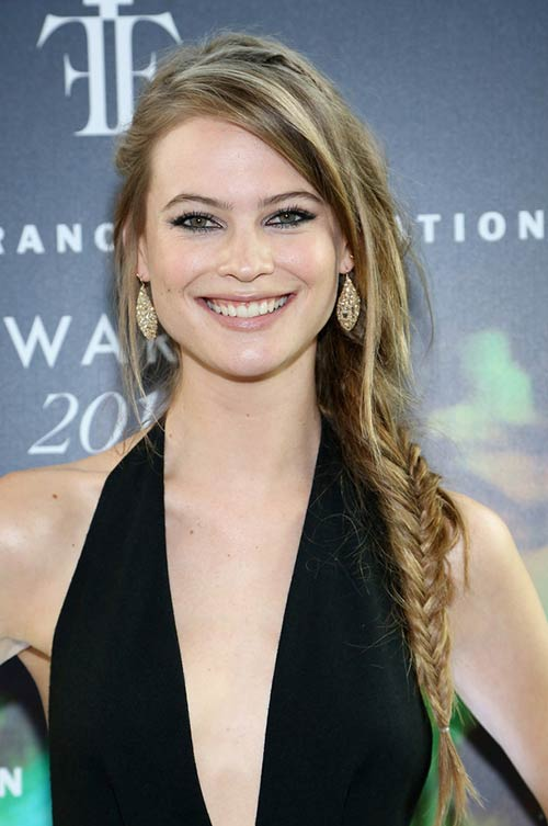10 Trendy Braided Holiday Hairstyles: Behati Prinsloo Bohemian Side Fishtail Braid