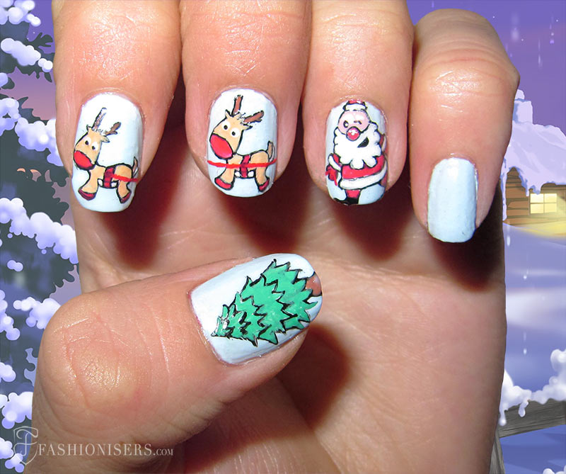 19 Unique Holiday Nail Art Designs: Santa and Reindeer Nails