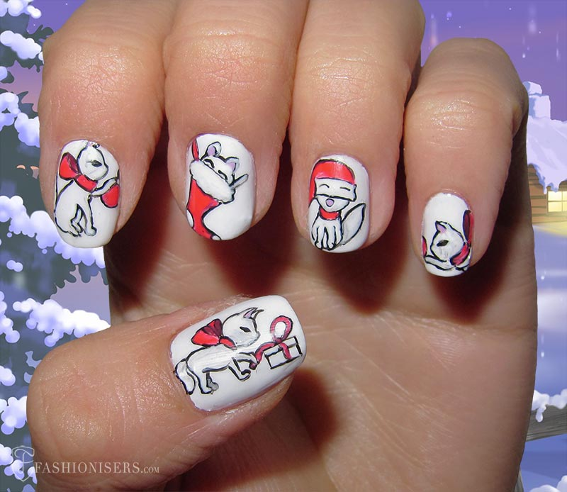 19 Unique Holiday Nail Art Designs: Christmas Cat Nails