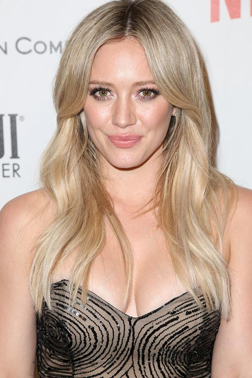 2015 Stylish Celebrity Hairstyles: Hilary Duff Center Part Long Hair