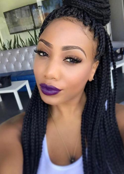 Awesome Box Braids Hairstyles: Twisted Top Bun Box Braids