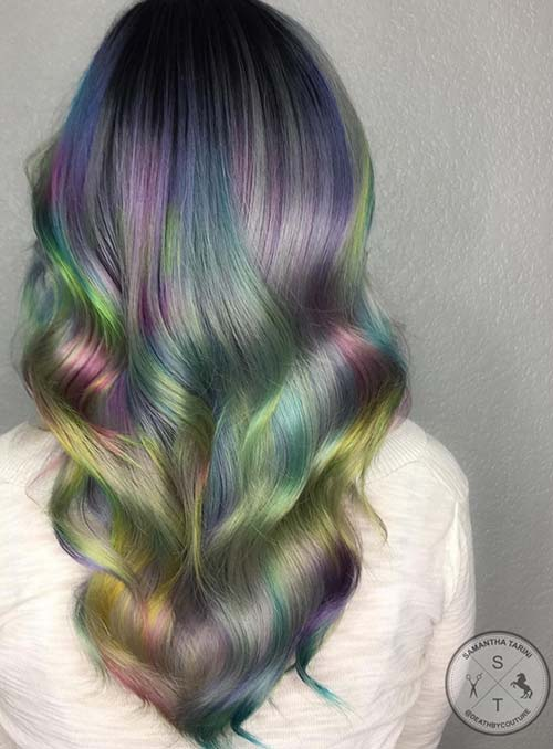 Pastel and Neon Hair Colors in Balayage and Ombre: Rainbow Hair
