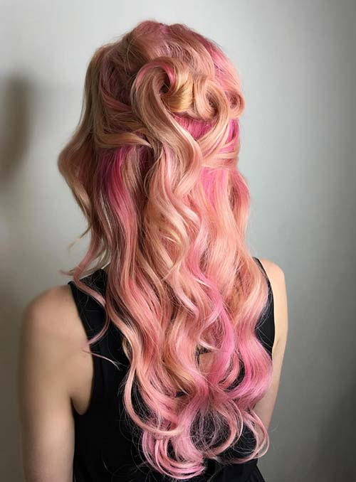 Pastel and Neon Hair Colors in Balayage and Ombre: Coral Hair