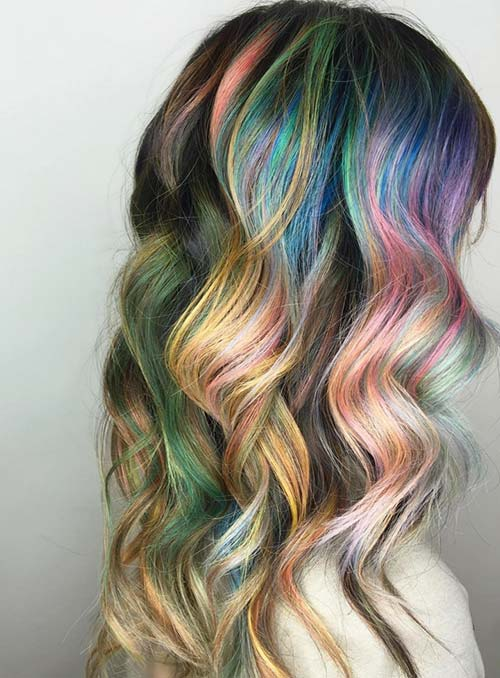 Pastel and Neon Hair Colors in Balayage and Ombre: Metallic Rainbow Hair