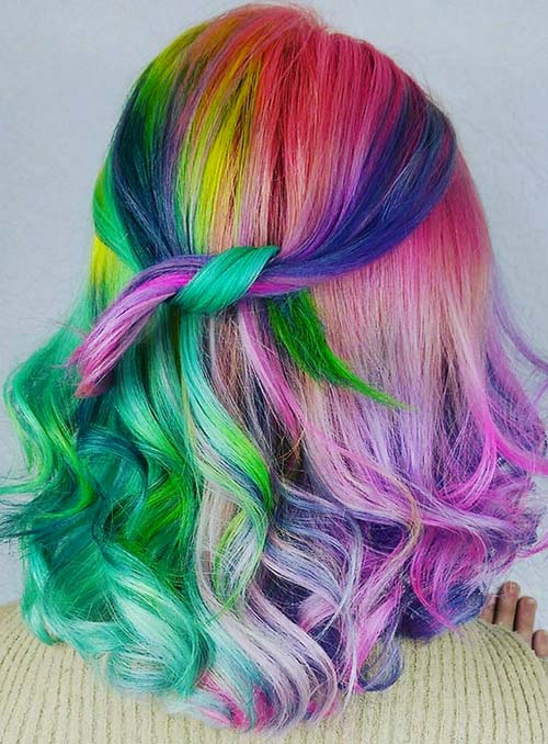 Pastel and Neon Hair Colors in Balayage and Ombre: Neon Balayage Hair