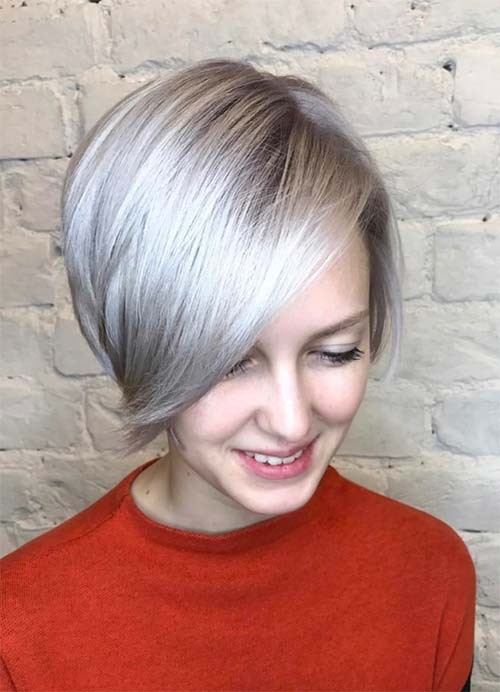 Short Hairstyles for Women with Thin/ Fine Hair: Platinum Bob