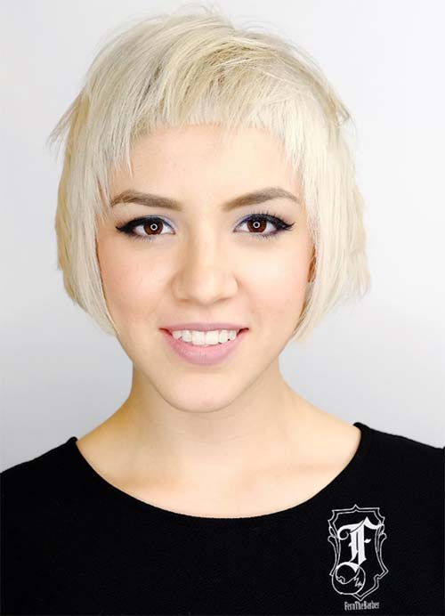 Short Hairstyles for Women with Thin/ Fine Hair: Overswept Bob with Baby Doll Bangs