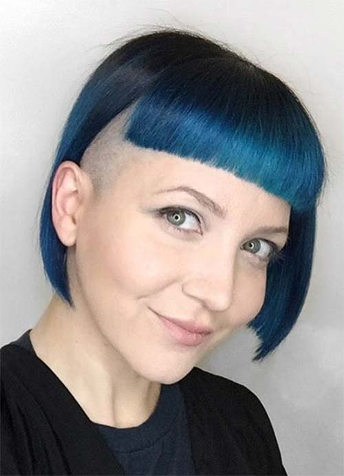 Short Hairstyles for Women with Thin/ Fine Hair: Blue Box Bob with Undercut