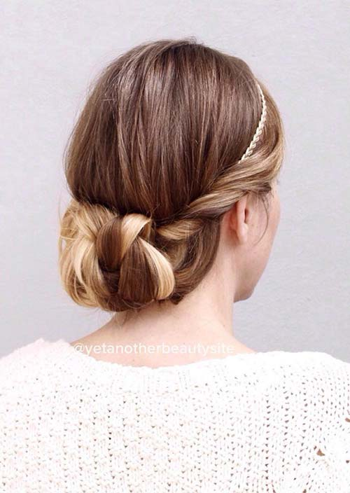 100 Trendy Long Hairstyles for Women: Twisted Low Updo