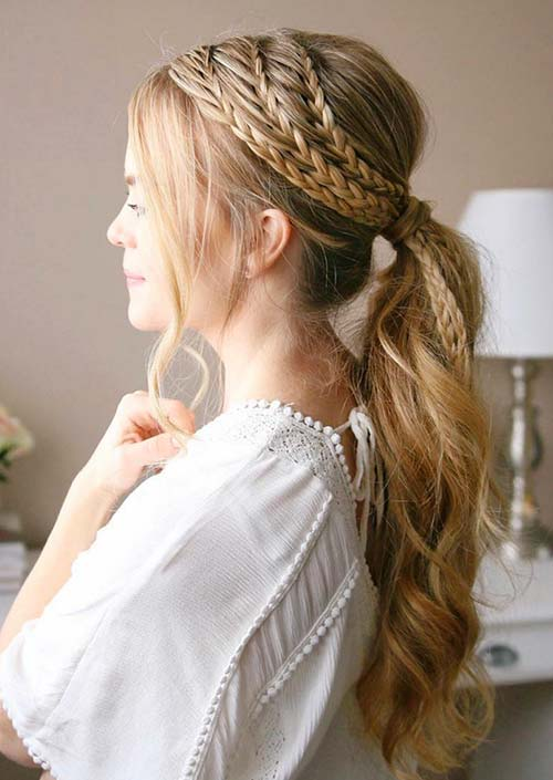100 Trendy Long Hairstyles for Women: Boho Braided Ponytail