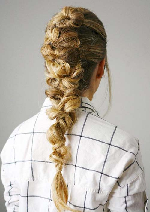 100 Trendy Long Hairstyles for Women: Knotted Braid Mohawk