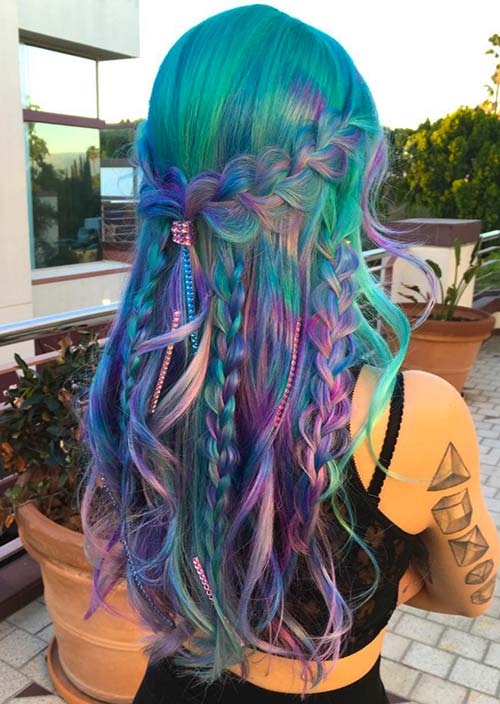 100 Trendy Long Hairstyles for Women: Multi-Braided Rainbow Hair