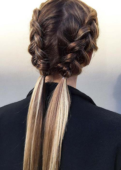 100 Trendy Long Hairstyles for Women: Half-Braid Pigtails