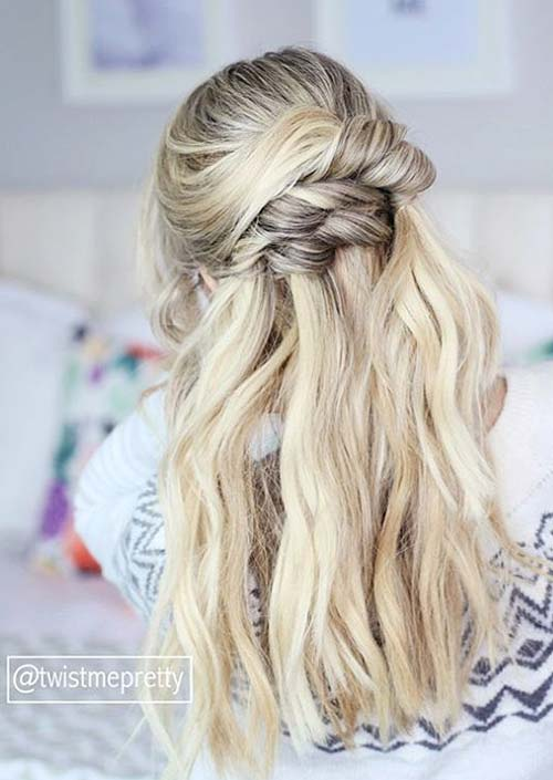 100 Trendy Long Hairstyles for Women: Knotted Half Updo