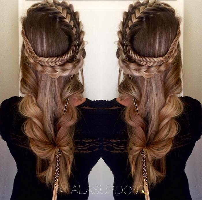 100 Ridiculously Awesome Braided Hairstyles: Crown Fishtail Braids