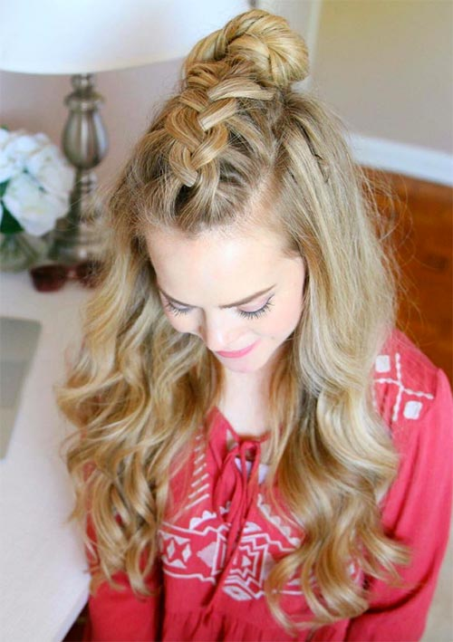 100 Ridiculously Awesome Braided Hairstyles: Mohawk Braided Top Knot