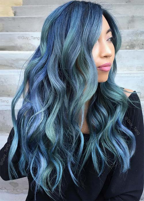 Blue Denim Hair Colors: Blue Jean Mermaid Balayage