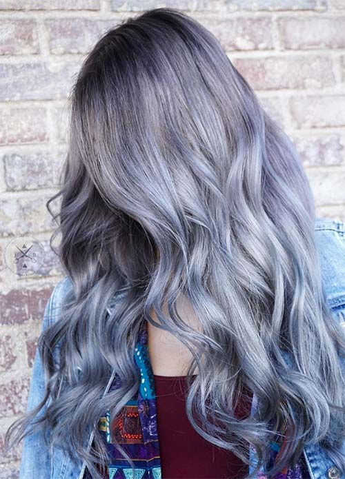 Blue Denim Hair Colors: Grunge Denim Waves