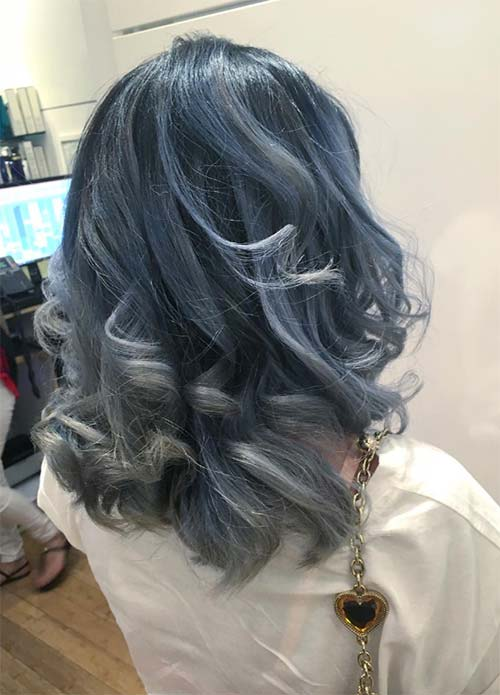 Blue Denim Hair Colors: Swirly Silver Denim Bob