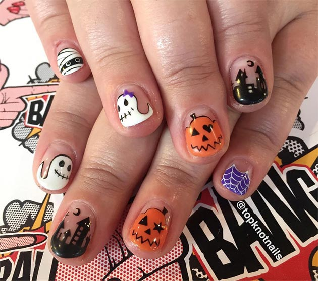 50 Awe-Inspiring Halloween Nail Art Designs: Ghouls and Pumpkins Halloween Nails