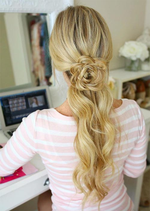 Pretty Holiday Hairstyles Ideas: Flower Braided Half-Up Hairstyle
