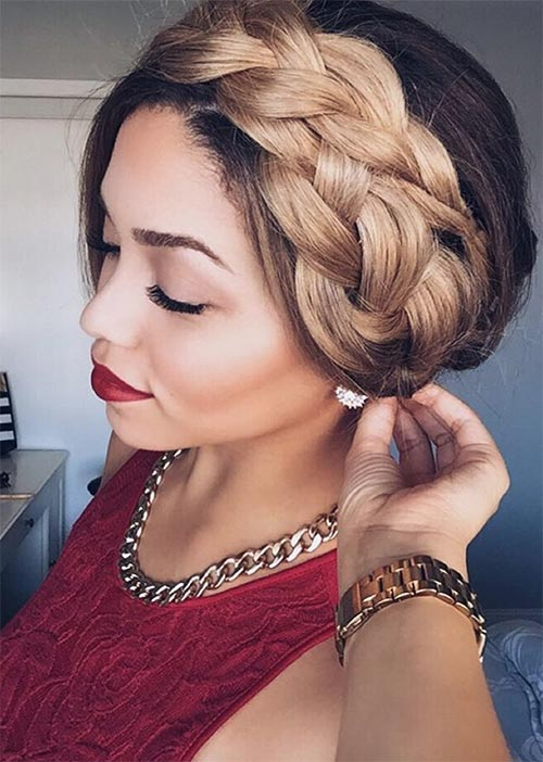 Pretty Holiday Hairstyles Ideas: Halo Braided Updo