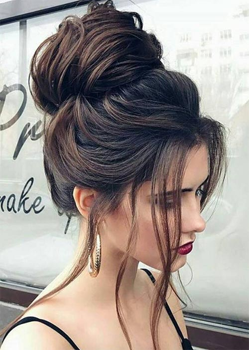 Pretty Holiday Hairstyles Ideas: Loose Top Bun
