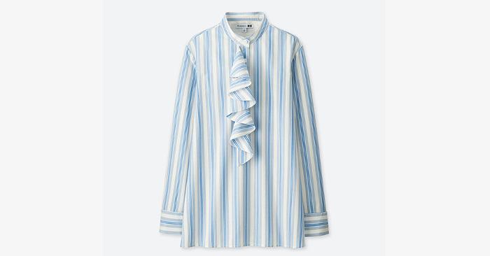 J.W. x Uniqlo Collaboration striped ruffled shirt