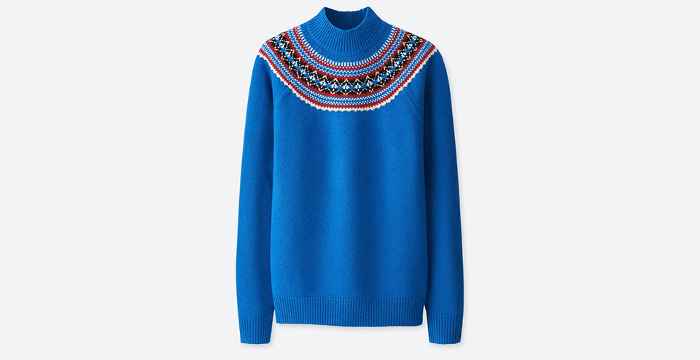 J.W. x Uniqlo Collaboration royal blue patterned sweater