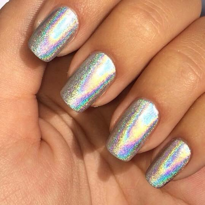 Chrome Nails How To DIY The Metallic Manicure Trend stearling silver metallic holographic nails