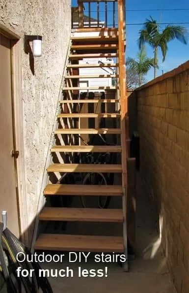 Fast Stairs Stringer Kits Easy To Use Under 1 Hour | Ready Made Outdoor Steps | Inexpensive | Single | Grey Composite Decking | Wooden | Support