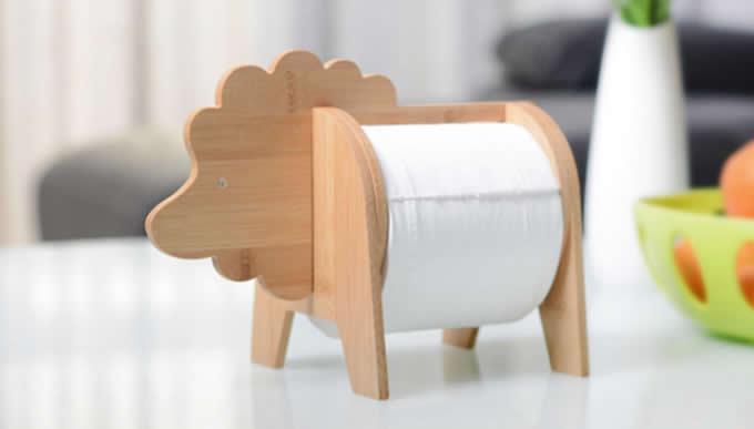 Bamboo Animal Toilet Paper Roll Holder Feelgift