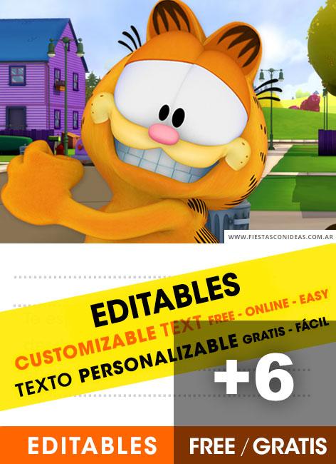 6 Invitaciones De Garfield Gratis Free Para Editar