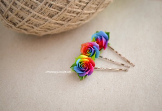 Handmade rainbow roses bobby pin  polymer clay rainbow rose  rainbow     Handmade rainbow roses bobby pin  polymer clay rainbow rose  rainbow hair  accessories  tie die wedding accessories