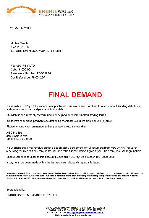 Final Demand Of Payment