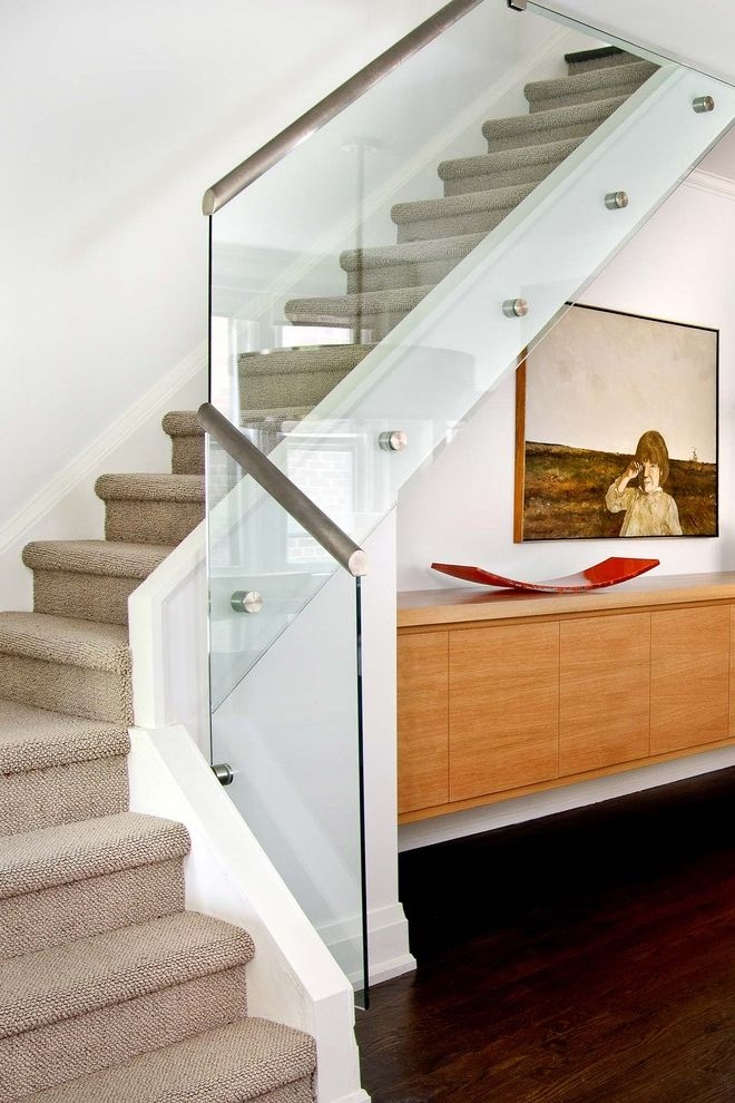 Anso Nylon Carpet Contemporary Staircase And Art Cabinet Carpeted | Carpet For Bedrooms And Stairs | Grey | Carpet Runner Ideas | Stair Railing | Rugs | Staircase Design