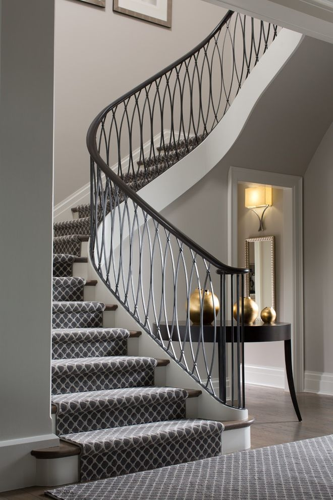 Anso Nylon Carpet Contemporary Staircase And Art Cabinet Carpeted   Grey Patterned Carpet For Stairs   Fitting Loop Pile Carpet   Room Matching Str*P   Middle Open Concept   Runners   Living Room