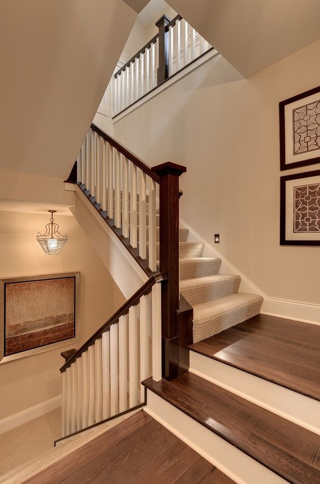How To Install Carpet On Stairs For Traditional Staircase Also | Black And White Stair Carpet | Entry Hall | Square Pattern | Luxurious | American Style | Small Space