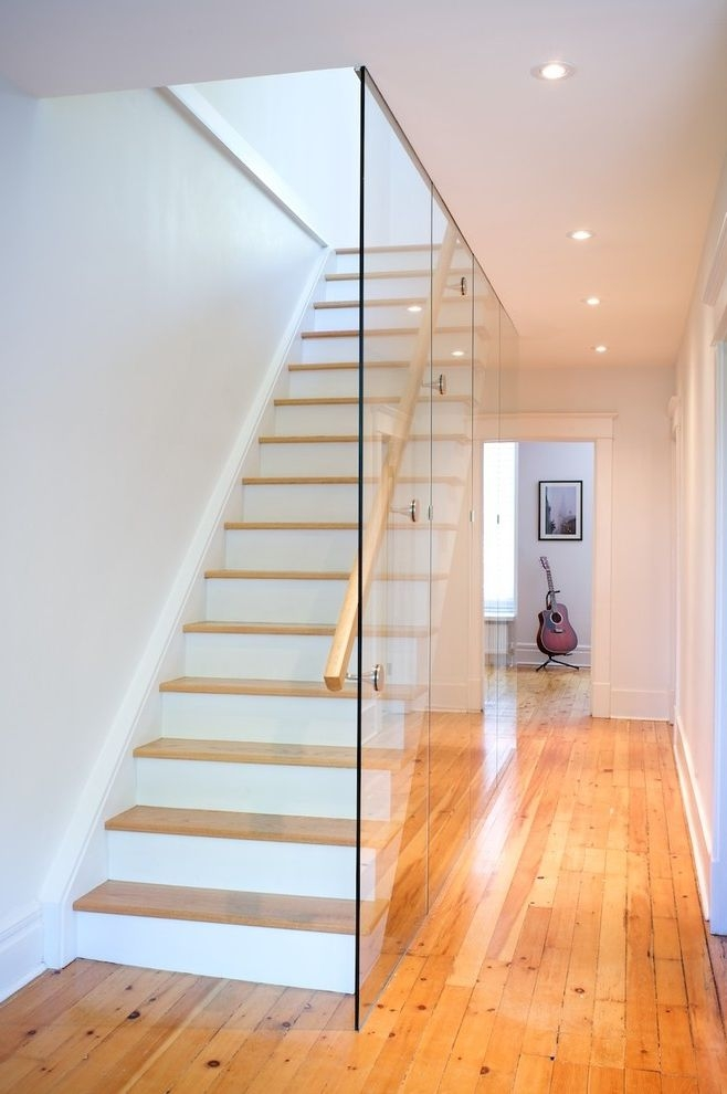 Scotch Glass Name With Modern Staircase And Glass Wall Light Wood   White Wood And Glass Staircase   Design   70'S   Thick Solid Oak Stair   Bannister   Indoor Glass