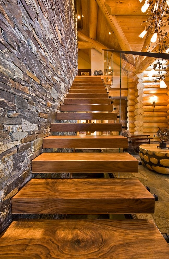 Stair Tread Kit With Rustic Staircase Also Cantilevered Stairs | Rustic Wood Stair Treads | Indoor Stair | Wood Plank | Interior | Reclaimed Wood | Carpet