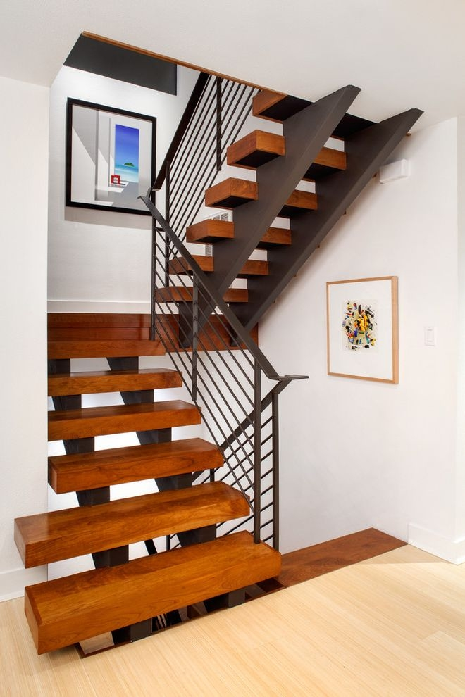 Thick Stair Treads Contemporary Staircase And Art Blocky | Thick Wood Stair Treads | Solid Weathered | Baby Blue White Stair | Custom | Prefinished | Glue Laminated