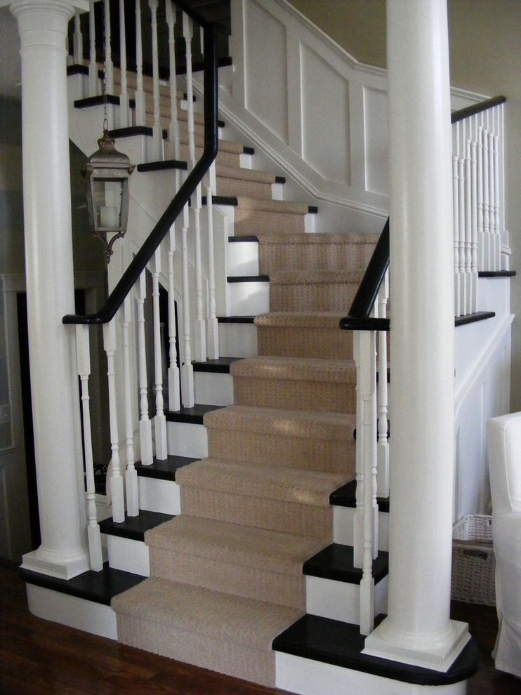Vinyl Stair Tread Covers Traditional Staircase Also Banister Black | Black And White Stair Carpet | Entry Hall | Square Pattern | Luxurious | American Style | Small Space