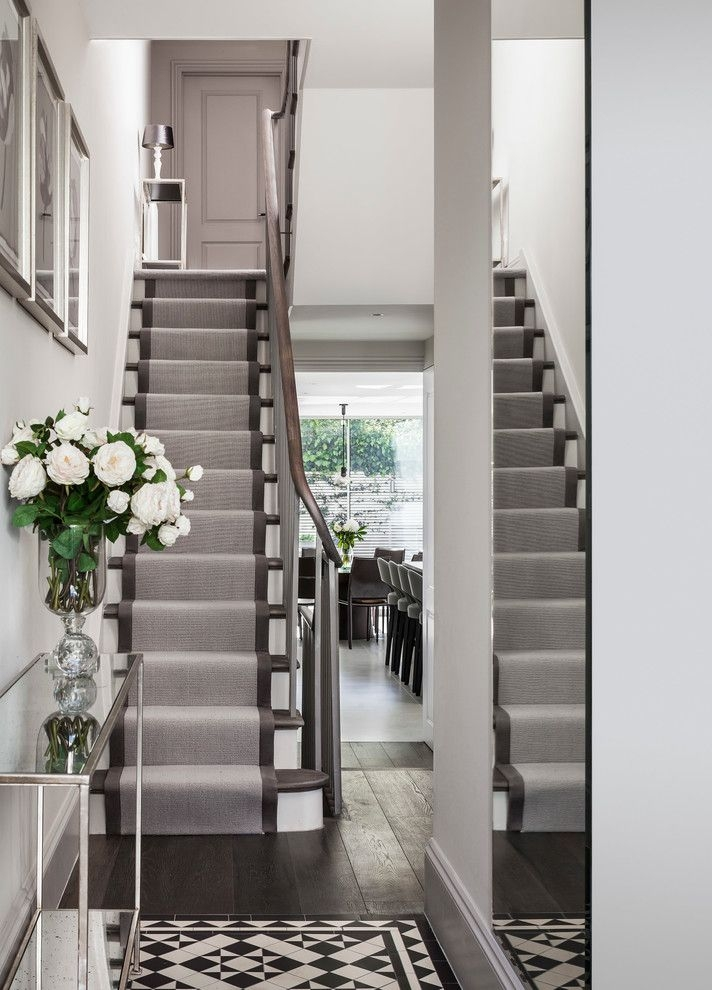Carpet Runners By The Foot With Traditional Staircase Also | Modern Carpet Runners For Stairs | Geometric | Design | White | Curved | Kitchen Modern